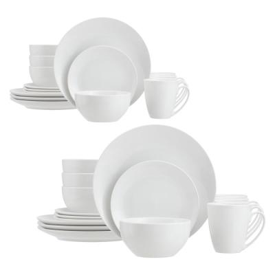StyleWell 32-Piece White Ceramic Coupe Dinnerware Set (Service for 8)