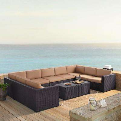Biscayne 9-Person Wicker Outdoor Seating Set with Mocha Cushions - 4 Loveseats, 1 Armless Chair, 2 Coffee Tables