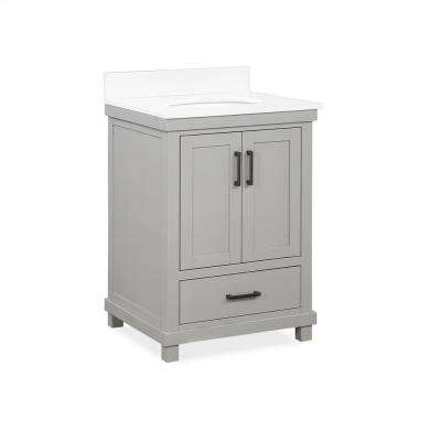 Rion 24 in. Gray Bathroom Vanity with White Composite Granite Vanity Top with Ceramic Oval Sink and Backsplash