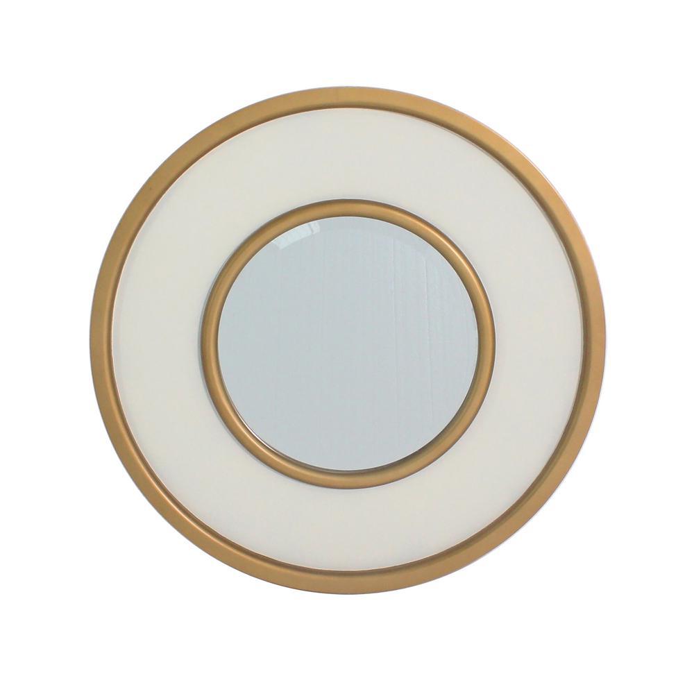 York Missouri White Round Accent Mirror