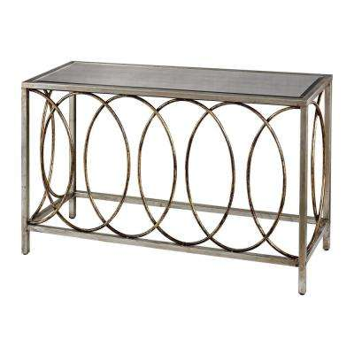Rings Bakewell Gold And Silver with Mirrored Top Console Table