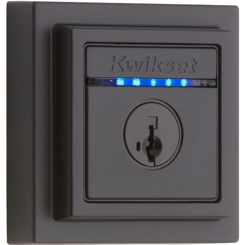 Kwikset Kevo 2nd Gen Contemporary Square Matte Black Single Cylinder Touch-to-Open Bluetooth Smart Lock Deadbolt