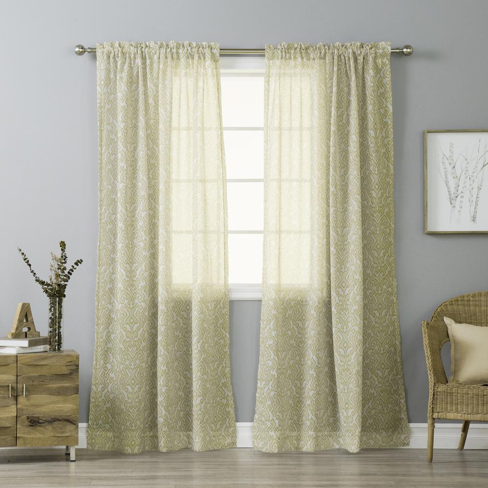 84 in. L Beige Sheer Ikat Printed Curtain Panel (2-Pack)