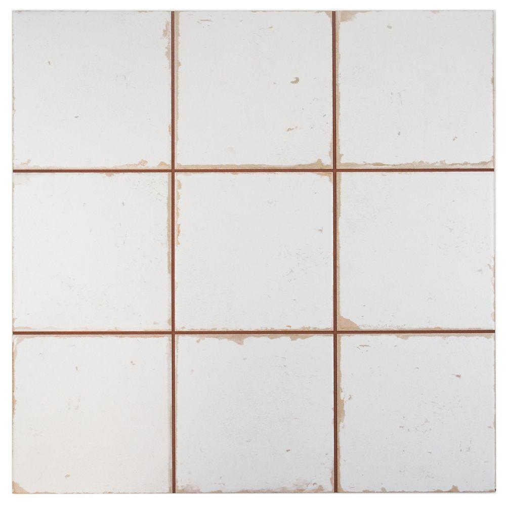 MerolaTile Merola Tile Faenza Manises 13 in. x 13 in. Ceramic Floor and Wall Tile (12.2 sq. ft. / case), White / Low Sheen