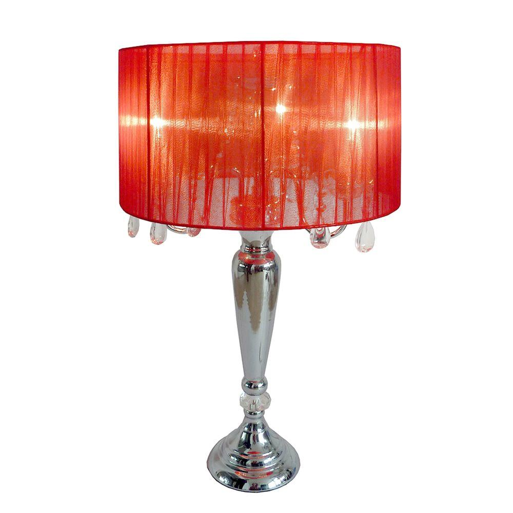Elegant Designs Crystal Palace 27 In Trendy Red Sheer Shade Chrome Table Lamp With