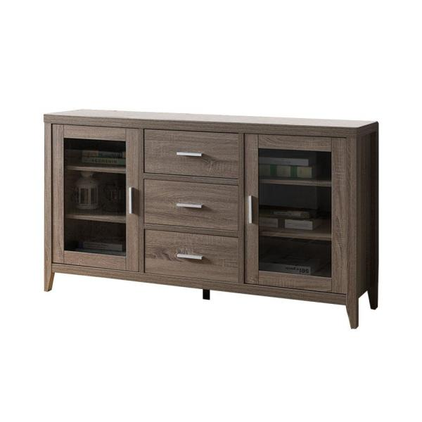 Benjara Brown Wooden TV Stand with 3-Drawers and Side Door Glass
