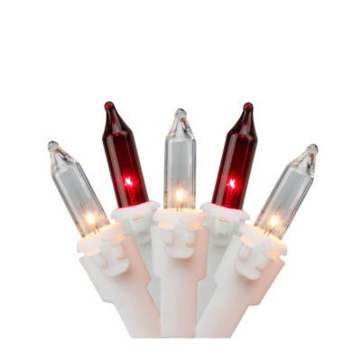 50-Light Red and Clear Mini Window Curtain Icicle Christmas Lights with White Wire