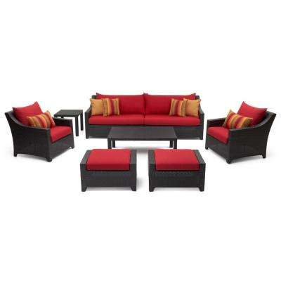 Deco 8-Piece All-Weather Wicker Patio Sofa and Club Chair Conversation Set with Sunset Red Cushions