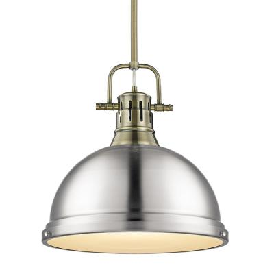 Duncan 1-Light Pendant with Rod in Aged Brass with a Pewter Shade