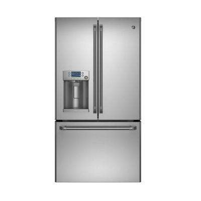 Cafe 36 in. W 27.8 cu. ft. French Door Refrigerator with Hot Water in Stainless Steel