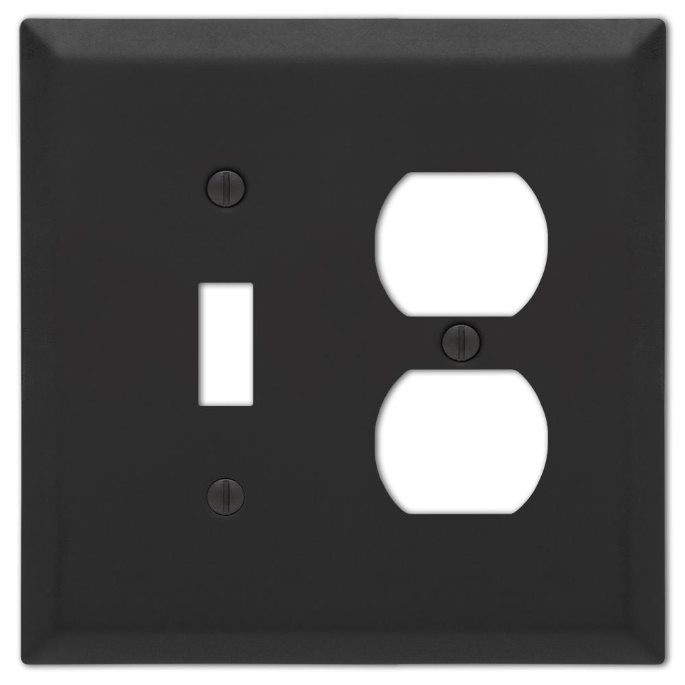 Metallic 2 Gang 1-Toggle and 1-Duplex Steel Wall Plate - Black