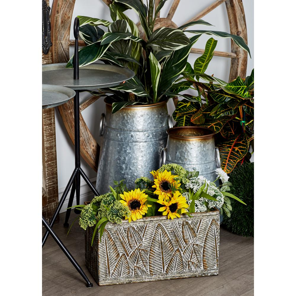Tarnished Silver Iron Planters with Palm Leaf Designs (Set of 3)
