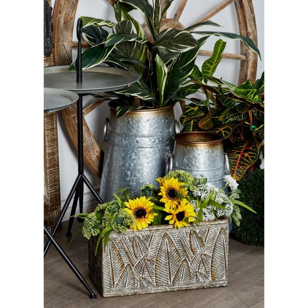 Litton Lane Tarnished Silver Iron Planters with Palm Leaf Designs (Set