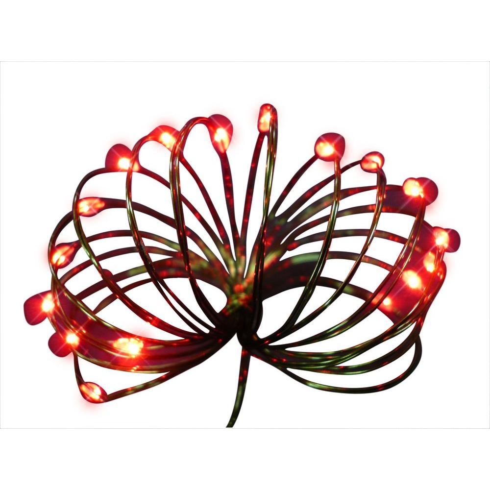 Starlite Creations 9 ft. 36-Light Battery Operated LED Red Ultra ...