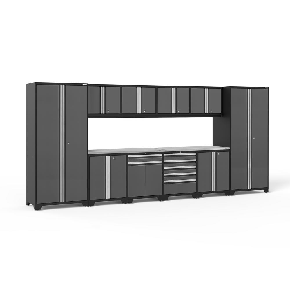 NewAge Products Pro Series 184 in. W x 85.25 in. H x 24 in. D 18-Gauge Welded Steel Garage Cabinet Set in Gray (12-Piece)