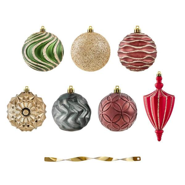 80 mm Shatterproof Holly Bell Ornament (60-Pack)