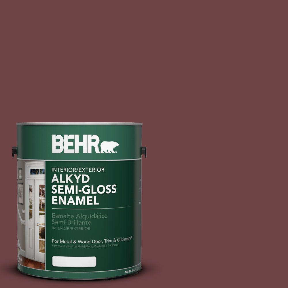BEHR 1-gal. #AE-6 Colony Red Semi-Gloss Enamel Alkyd Interior/Exterior Paint