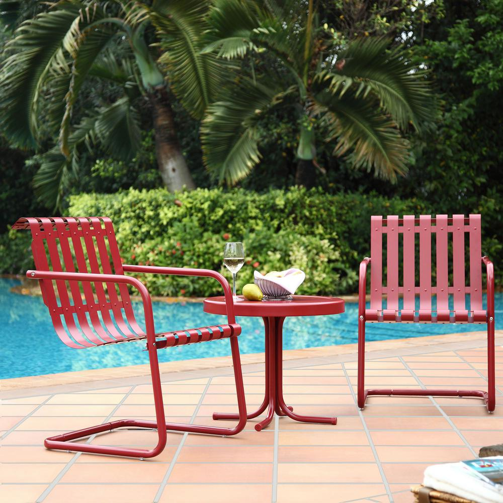 Crosley Gracie 3-Piece Metal Outdoor Conversation Seating Set - 2-Chairs and Side Table in Coral Red