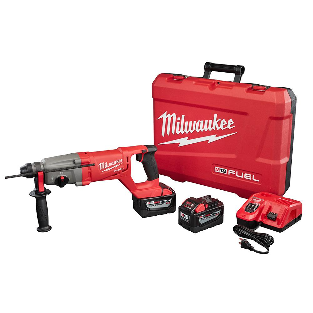 Milwaukee M18 FUEL 18-Volt Lithium-Ion Brushless Cordless 1 in. SDS-Plus D-Handle Rotary Hammer Kit W/(2) 9.0Ah Batteries