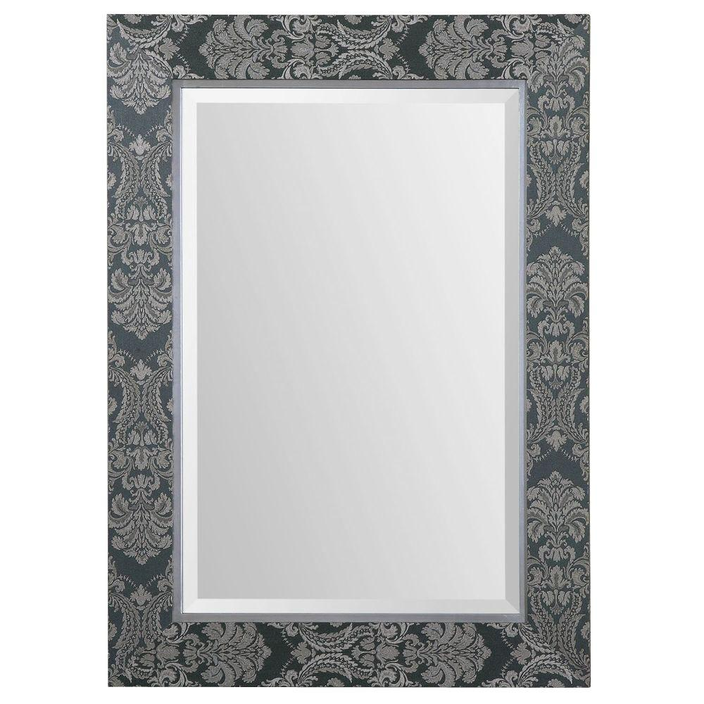 Home Decorators Collection 37.5 in. x 27.5 in. Slate Gray Rectangle Framed Mirror