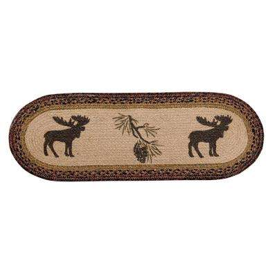 Whimsical Moose Braided Multi Jute Table Runner