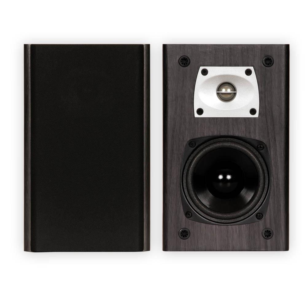 Black Bookshelf Speakers Surround Home Theater Speaker Pair Theater Solutions Home Theater Speakers were designed with pride right here in the USA. These speakers are highly efficient, so they can be driven easily by even the most modestly powered home system. High efficiency design creates full, spacious, clear sound with as little as 10-Watt. Speakers have 4 in. bi-laminate composite, balanced drivers and 1 in. ferro fluid cooled, titanium coated, balanced tweeters that are shielded to protect TV's and other components. The back port vent allows air movement for deeper bass. Easily install your standard raw speaker wire with the spring loaded terminals. These speakers have a modern design with the non-resonant MDF enclosures with black wood grain finish and detachable black fabric grills. These speakers are perfect for Home Theater Surround Sound Systems, general music or any application in between.