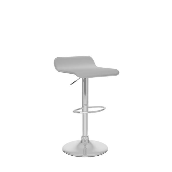 Adjustable Height White Leatherette Swivel Bar Stool with Curved Seat (Set of 2)