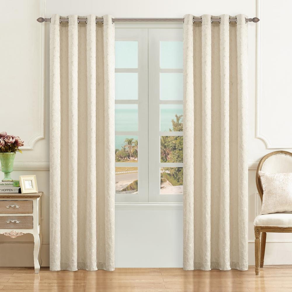 Lyndale Decor Simone 95 in. L x 54 in. W Jacquard Leaf Polyester Curtain in Cream