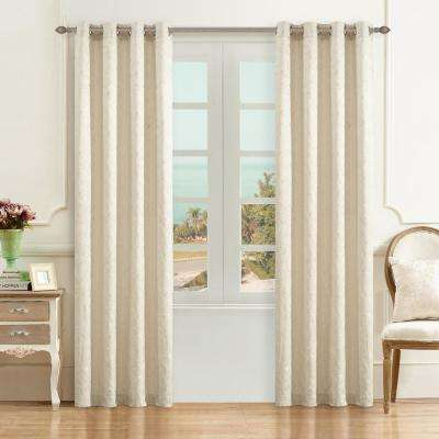 Simone 95 in. L x 54 in. W Jacquard Leaf Polyester Curtain in Cream