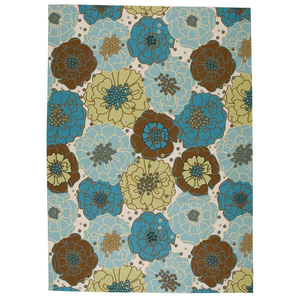 Nourison Home & Garden Chrysanthemum Light Blue 8 ft. x 11 ...
