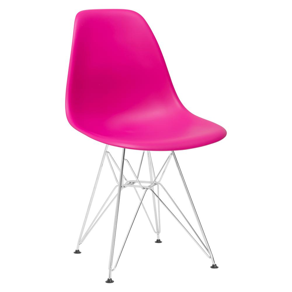 Padget Chrome and Fuchsia Side Chair