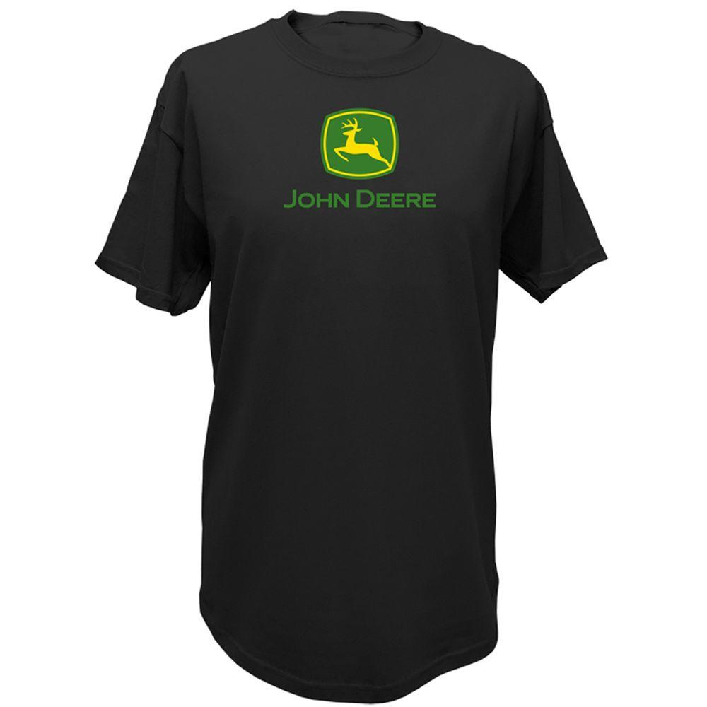 John Deere Basic XXL Adult Men's Crew Neck Tee Shirt in Black