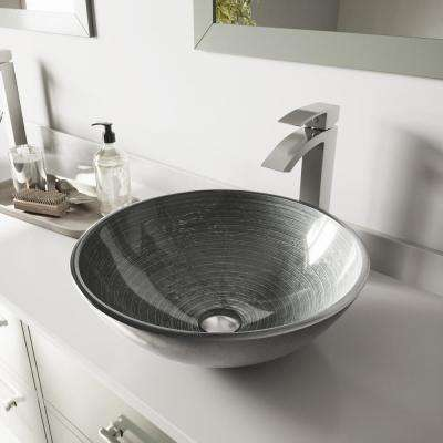 Glass Vessel Bathroom Sink in Simply Silver and Duris Faucet Set in Brushed Nickel