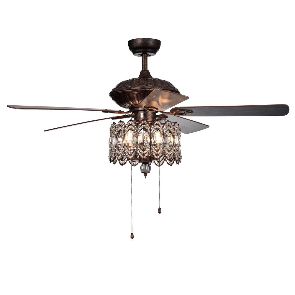 Warehouse of Tiffany Mariposa 52 in. Rustic Bronze Chandelier Ceiling Fan with Light Kit