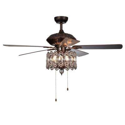 Mariposa 52 in. Rustic Bronze Chandelier Ceiling Fan with Light Kit