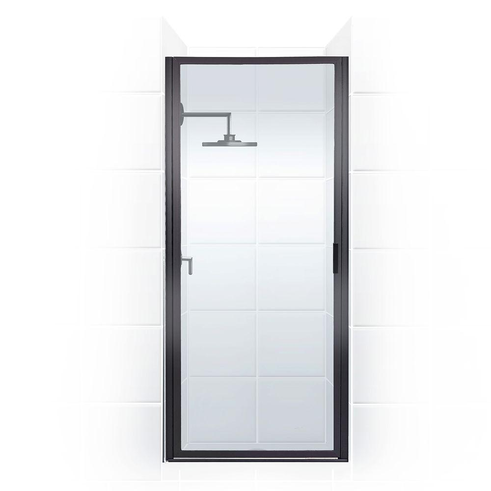 Coastal Shower Doors Paragon 24 in  to 24 75 in  x 66 in  Framed Pivot  Shower Door in Black Bronze with Clear Glass