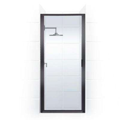 Paragon Series 24 in. x 65 in. Framed Continuous Hinged Shower Door in Black Bronze with Clear Glass