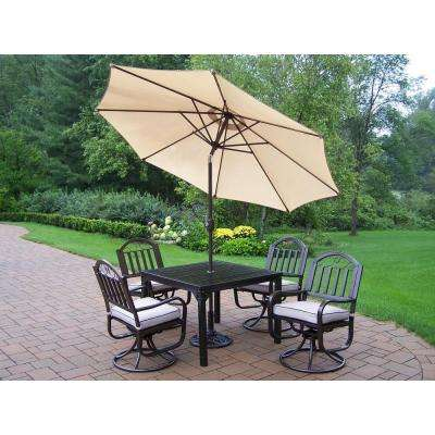 Rochester 5-Piece Swivel Patio Dining Set with Cushions and Beige Umbrella