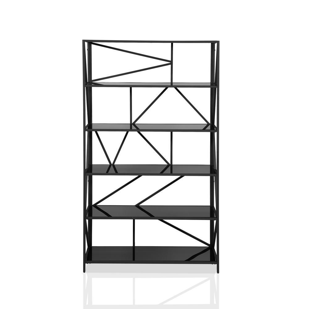 Izak 71.25 in. H Black Steel 6-Shelf Bookcase With Glass Shelves