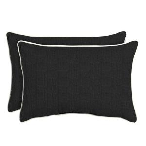 Sunbrella Canvas Black Oversized Lumbar Outdoor Throw Pillow (2-Pack)