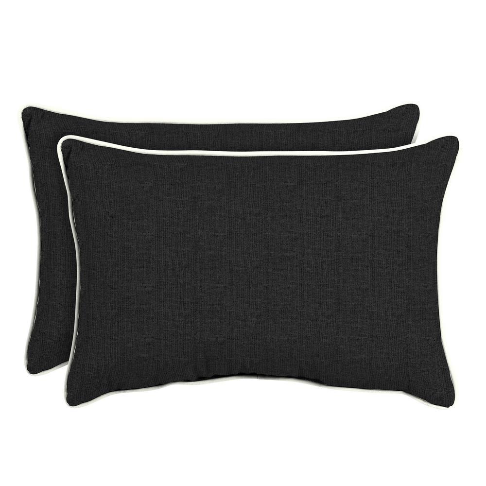 Sunbrella Canvas Black Oversized Lumbar Outdoor Throw Pillow (2-Pack)
