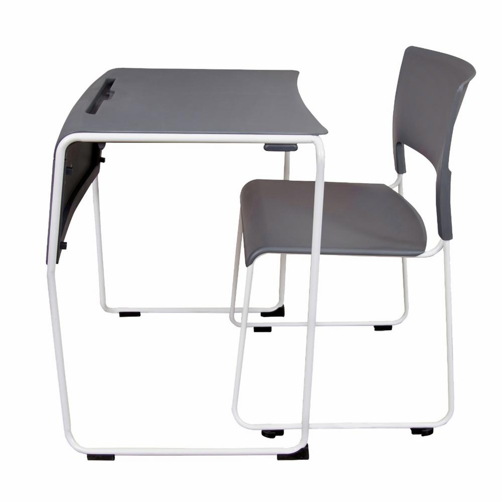 Unbranded Lightweight Stackable Student Desk and Chair - 37 Pack- Slate  Gray-STUDENT-STK37PK - The Home Depot