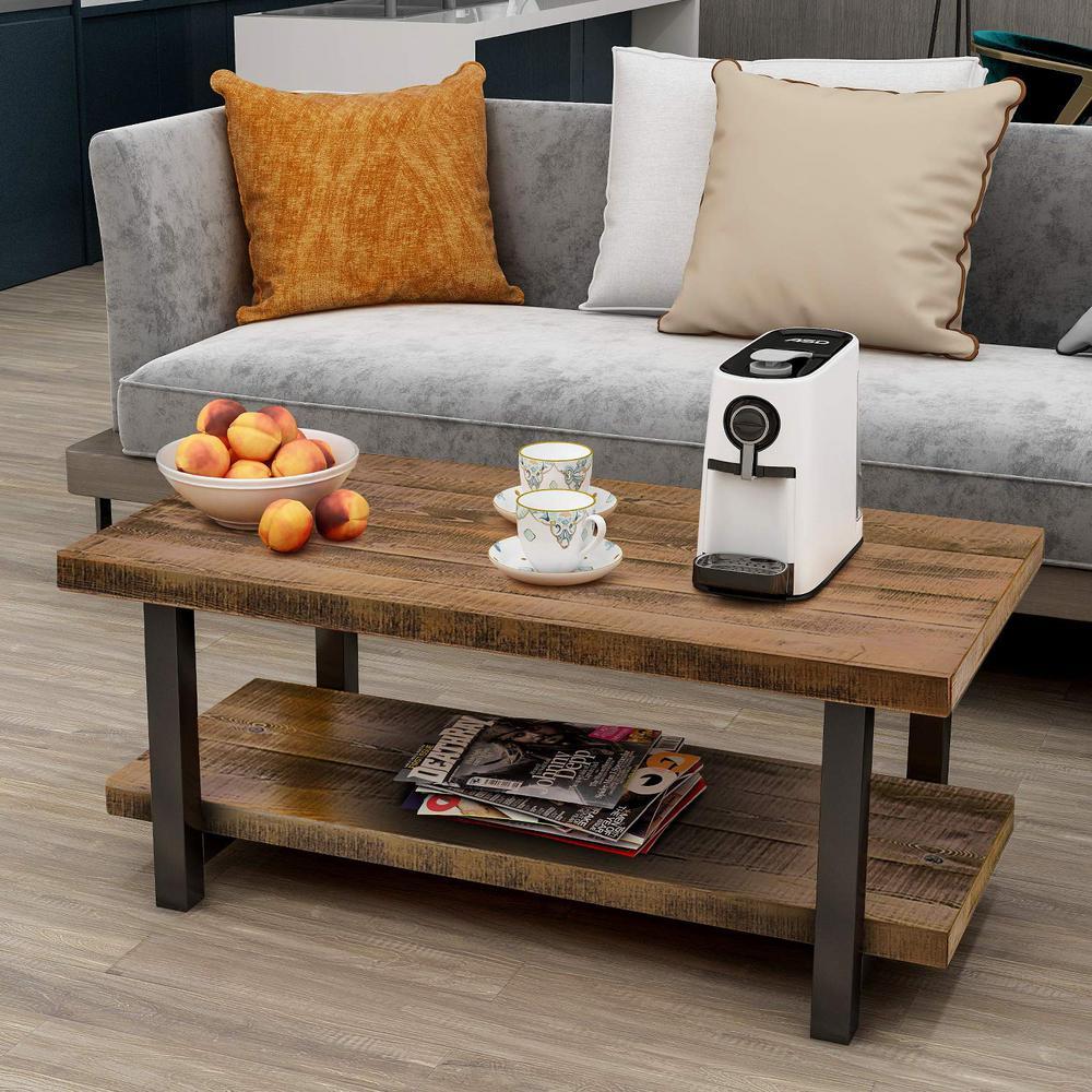Brown Wood Metal Rectangle Coffee Table