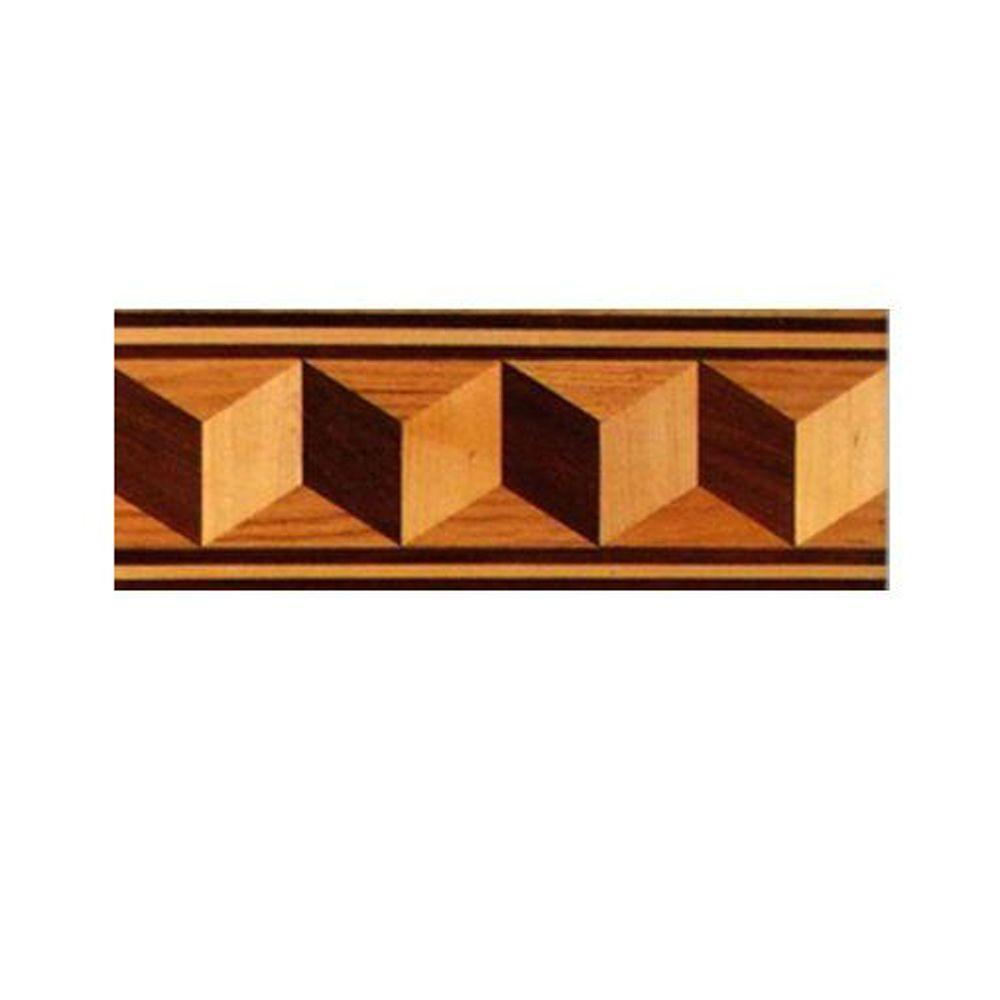 PID Floors Cubes Design 3/4 in. Thick x 6 in. Wide x 48 in. Length Hardwood Flooring Unfinished Decorative Border