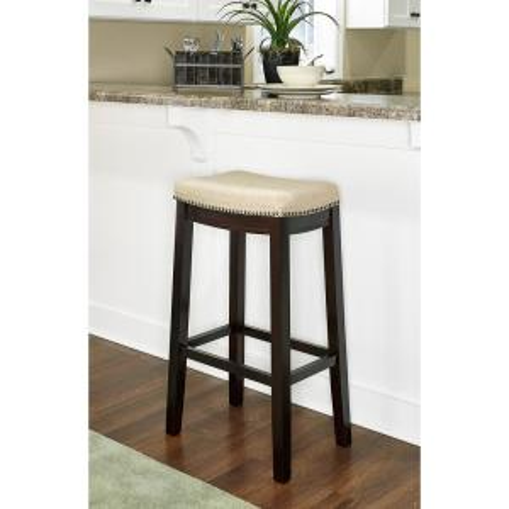 Fine Linon Home Decor Hampton 30 In Dark Walnut Cushioned Bar Inzonedesignstudio Interior Chair Design Inzonedesignstudiocom