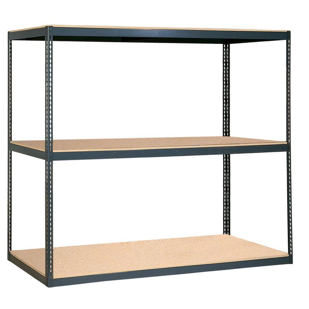 EDSAL 84-In H X 96-In W X 48-In D 3-Shelf Steel Freestanding Shelving