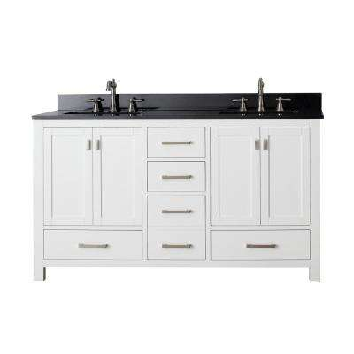 Modero 61 in. W x 22 in. D x 35 in. H Vanity in White with Granite Vanity Top in Black and White Basins
