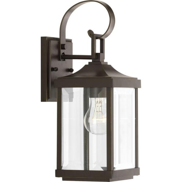Progress Lighting Gibbes Street Collection 1 Light Antique Bronze 15 1 In Outdoor Wall Lantern Sconce P560021 020 The Home Depot