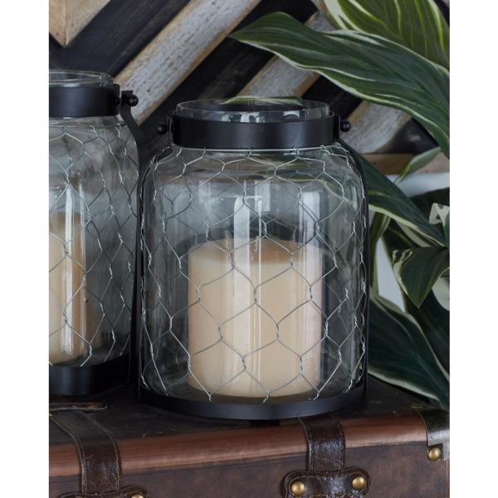 Litton Lane 9 in. Black Chain-Wrapped Candle Lantern 24042