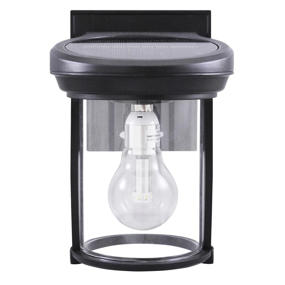 Gama Sonic Solar Coach 1 Light Black Outdoor Wall Lantern Sconce